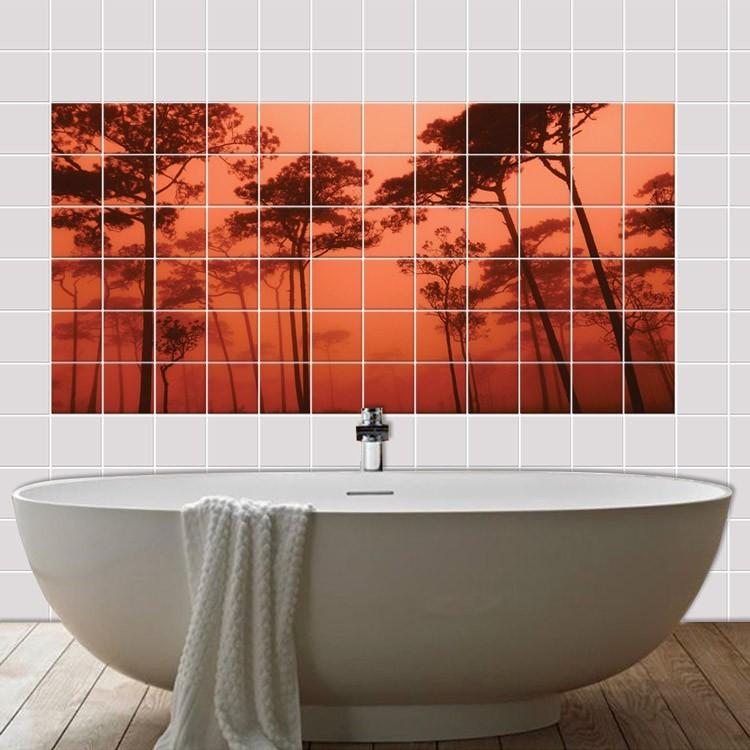 Αυτοκόλλητο πλακάκι τοίχου Ηλιοβασίλεμα στο δάσος