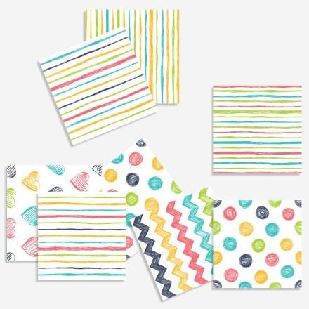 Πολύχρωμο μοτίβο με γραμμές και σχέδια (8 τεμάχια)