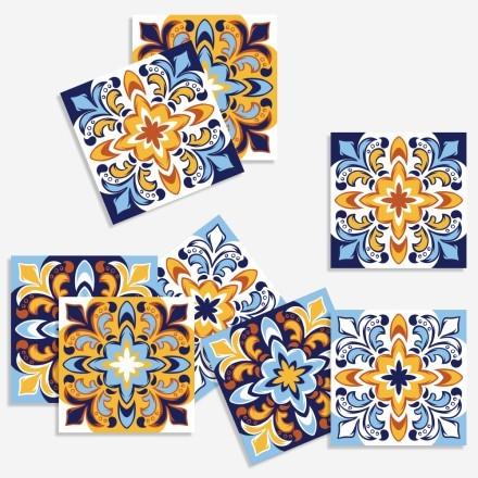 Μοτίβα σε μπλε - κίτρινο αποχρώσεις (8 τεμάχια)