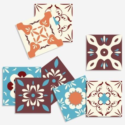 Vintage πολύχρωμο μοτίβο (8 τεμάχια)