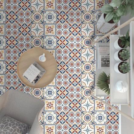 Vintage tile πολύχρωμο μοτίβο (8 τεμάχια)