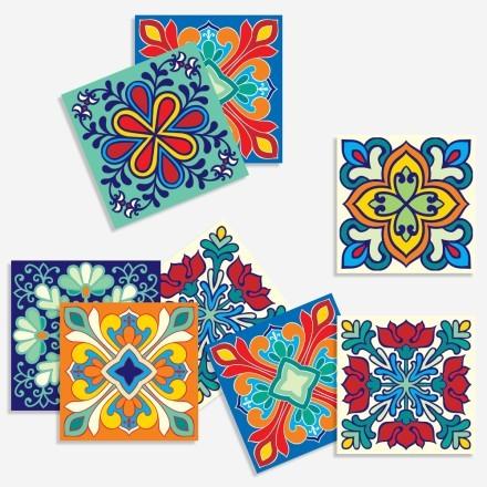 Πολύχρωμο ιταλικό floral μοτίβο (8 τεμάχια)
