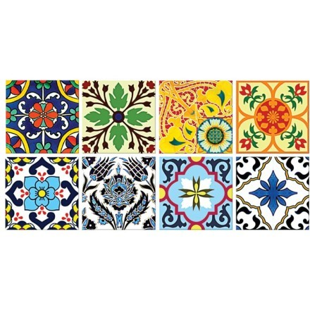 Floral πορτογαλικό μοτίβο (8 τεμάχια)