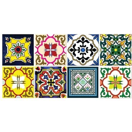 Floral πολύχρωμο πορτογαλικό μοτίβο (8 τεμάχια)