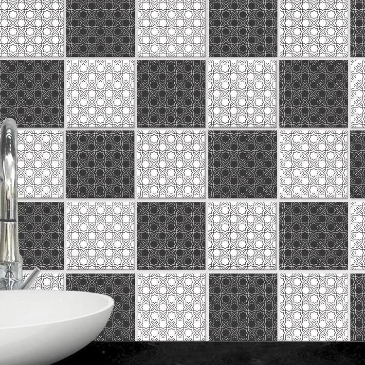 Αυτοκόλλητο πλακάκι τοίχου Γραμμικό μοτίβο (8 Τεμάχια)