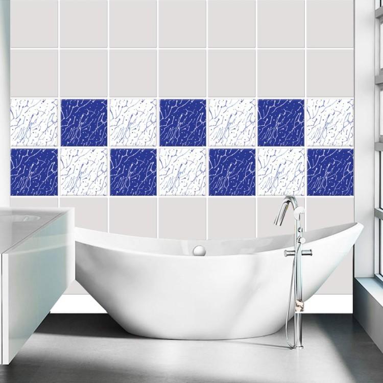 Αυτοκόλλητο πλακάκι τοίχου Μοντέρνο μοτίβο μπλε  (8 τεμάχια)