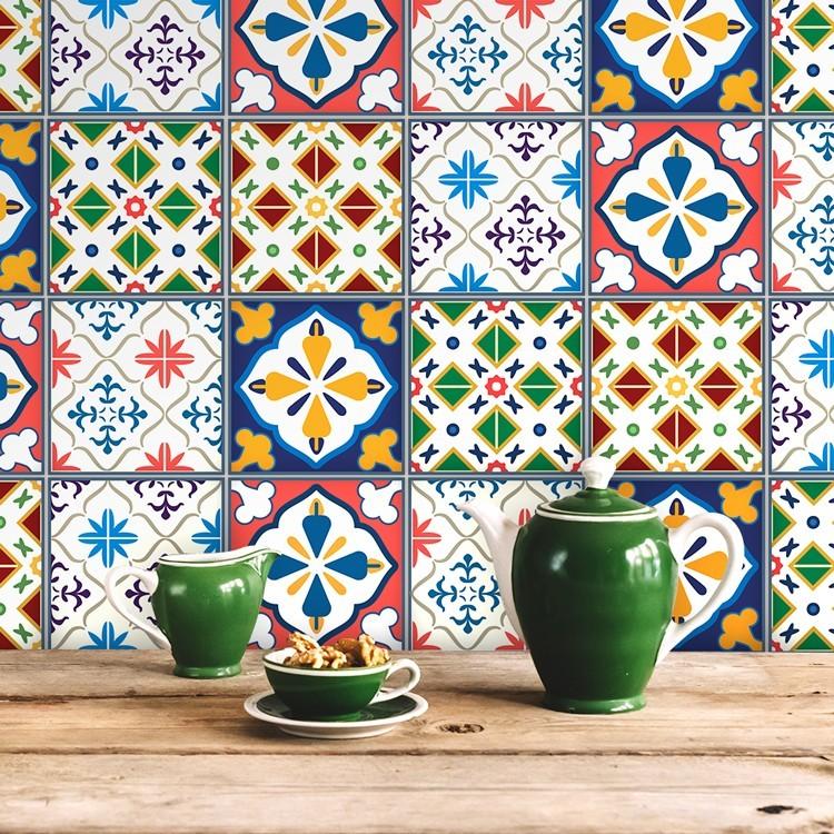 Αυτοκόλλητο Πλακάκι Μεξικάνικο πολύχρωμο μοτίβο (6 τεμάχια)