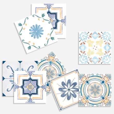 Vintage μοτίβο σε μπλε και μπεζ αποχρώσεις  (8 τεμάχια)