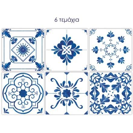 Vintage μπλε μοτίβα  (6 τεμάχια)