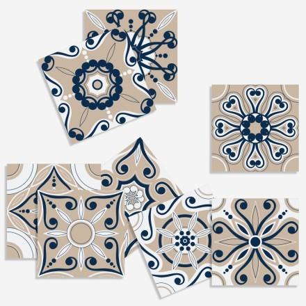 Retro μοτίβο σε μπεζ-λευκό-μπλε (8 τεμάχια)