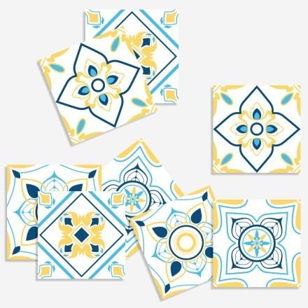 Μοτίβα σε μπλε-κίτρινο-γαλάζιο (8 τεμάχια)