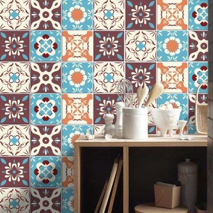 Ρετρό μοτίβο σε καφέ με γαλάζιο (8 τεμάχια)