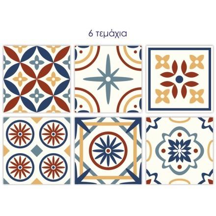 Vintage tile πολύχρωμο μοτίβο (6 τεμάχια)