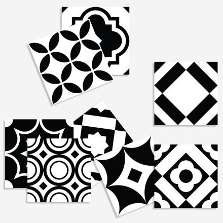 Μοντέρνο ασπρόμαυρο γεωμετρικό μοτίβο σε (8 τεμάχια)