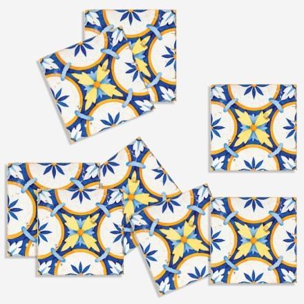 Μοτίβο σε μπλε & κίτρινο (8 τεμάχια)