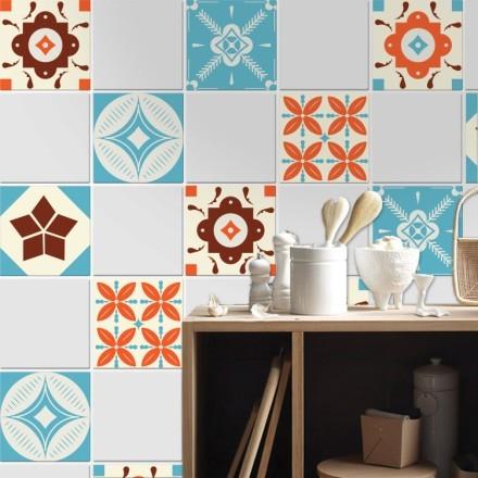 Ισπανικό μοτίβο καφέ πορτοκαλί μπλε  (6 τεμαχια)