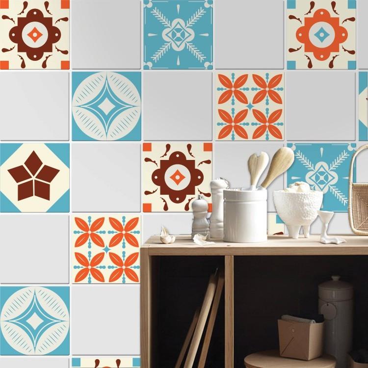 Αυτοκόλλητο πλακάκι τοίχου Ισπανικό μοτίβο καφέ πορτοκαλί μπλε  (6 τεμαχια)