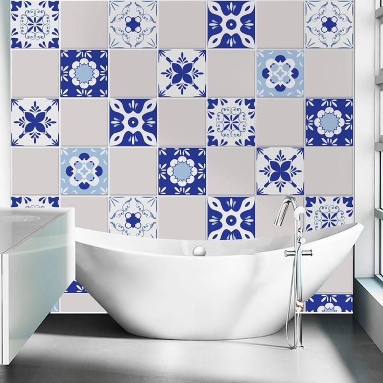 Αυτοκόλλητο Πλακάκι Μεξικάνικα μοτίβο μπλε (6 τεμάχια)