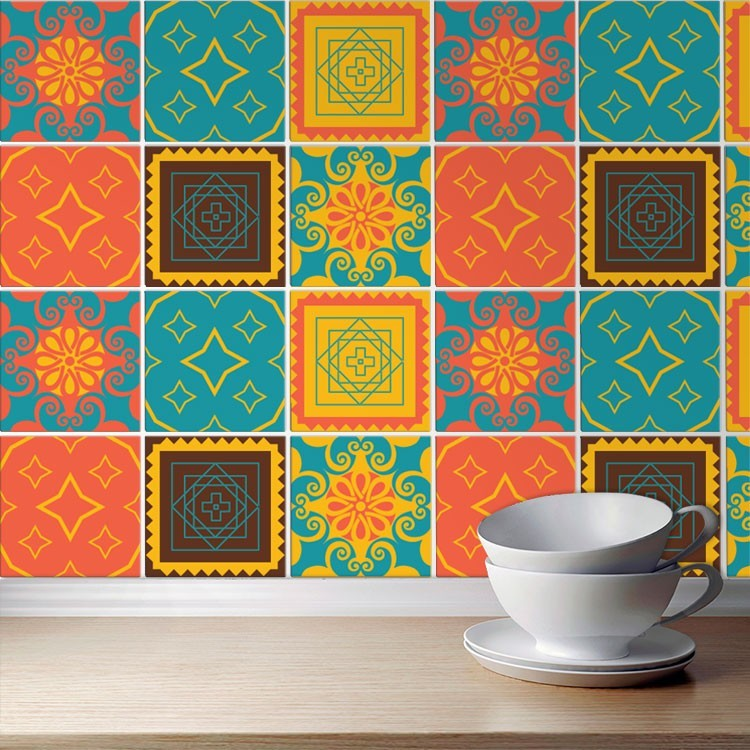 Αυτοκόλλητο πλακάκι τοίχου Μεξικάνικα μοτίβο (6 τεμάχια)