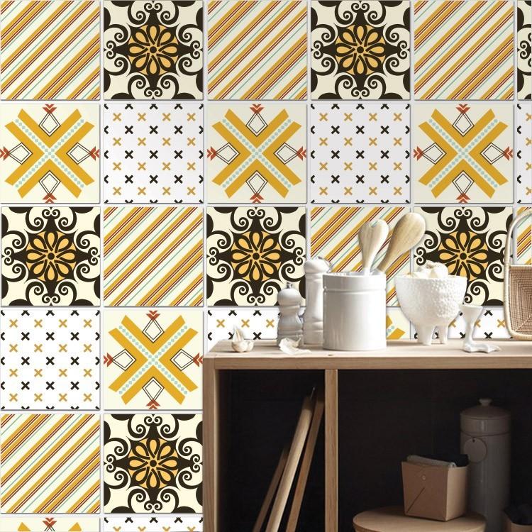 Αυτοκόλλητο πλακάκι τοίχου Ρετρό μοτίβο μαύρο κίτρινο design (8 τεμάχια)