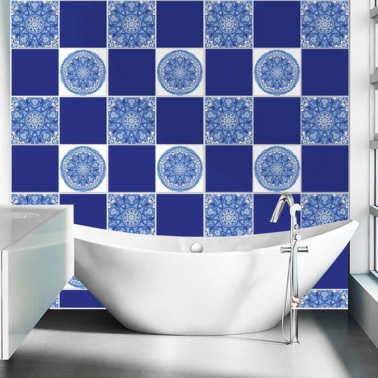 Αυτοκόλλητο Πλακάκι Μπλε πορτογαλικό μοτίβο (8 τεμάχια)
