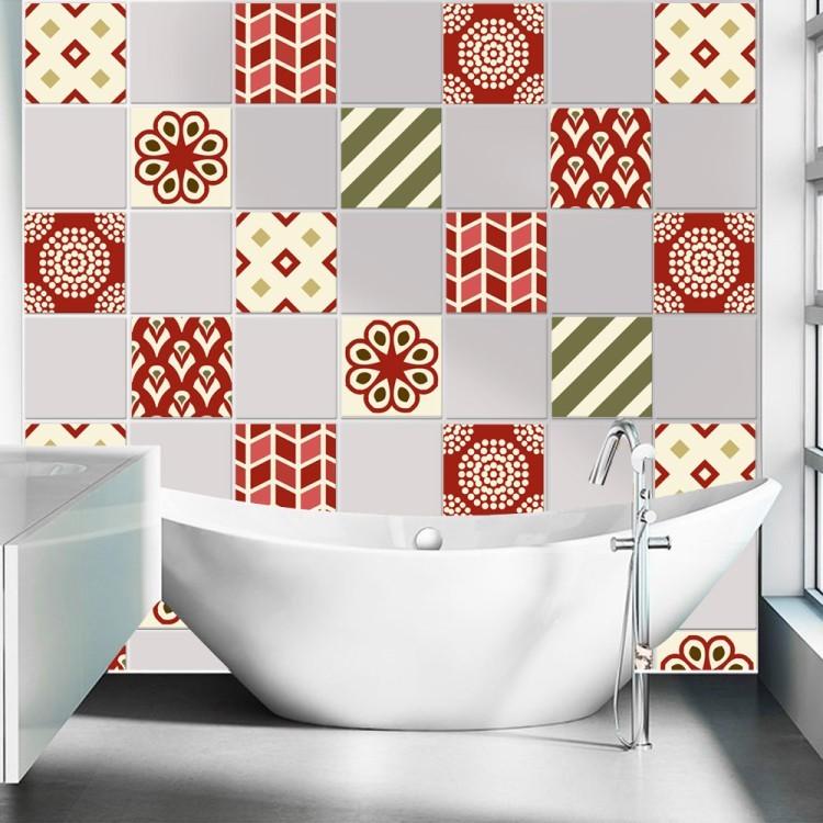Αυτοκόλλητο Πλακάκι Πατσγουορκ μοτίβο κόκκινο (6 τεμάχια)