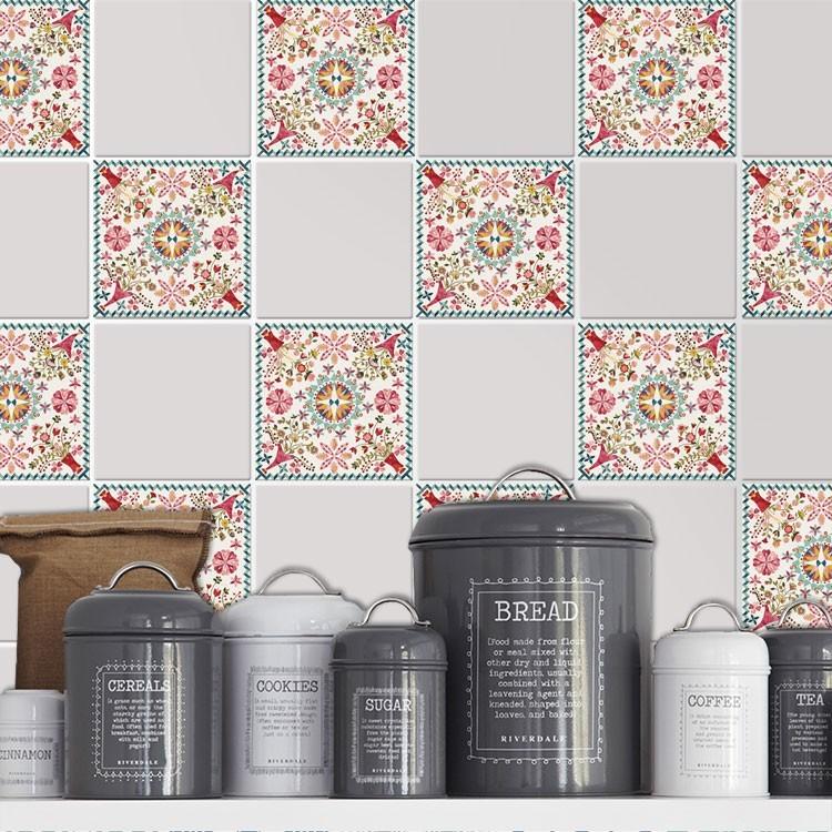 Αυτοκόλλητο πλακάκι τοίχου Ρετρό μοτίβο λουλούδια (6 τεμάχια)