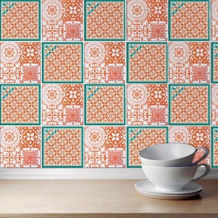 Πορτογαλικό μοτίβο πορτοκαλί πετρολ (8 τεμάχια)