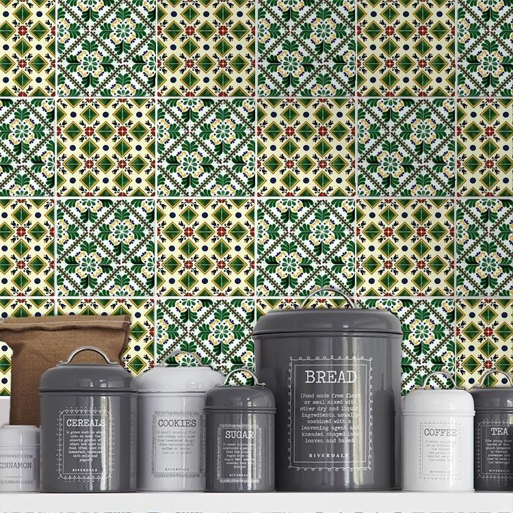 Αυτοκόλλητο πλακάκι τοίχου Πράσινο μοτίβο (6 τεμαχια)