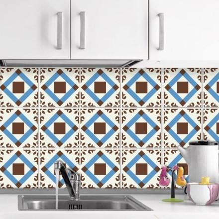 Γεωμετρικό μοτίβο μπλε καφέ  (6 τεμάχια)