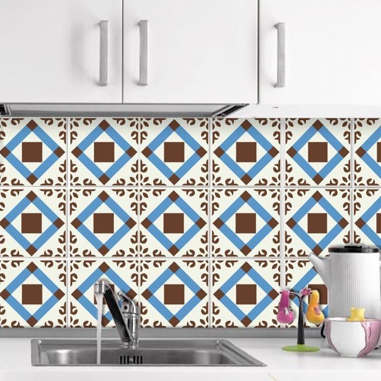 Αυτοκόλλητο Πλακάκι Γεωμετρικό μοτίβο μπλε καφέ  (6 τεμάχια)