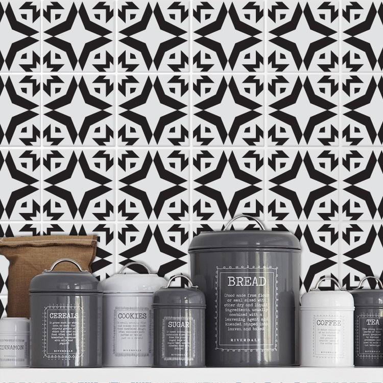 Αυτοκόλλητο πλακάκι τοίχου Ασπρόμαυρο μοτίβο (8 Τεμάχια)
