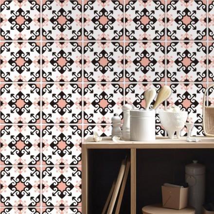 Μαροκινό μοτίβο μαύρο ροζ (8 Τεμάχια)