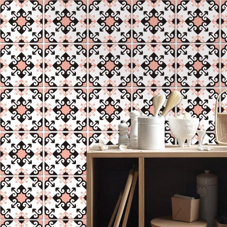Αυτοκόλλητο Πλακάκι Μαροκινό μοτίβο μαύρο ροζ (8 Τεμάχια)