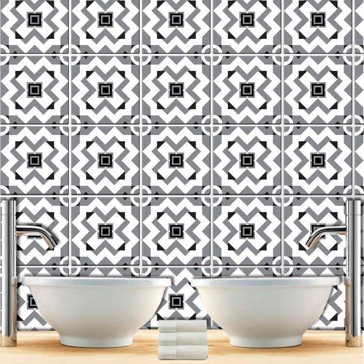 Αυτοκόλλητο πλακάκι τοίχου Μοτίβο άσπρο μαύρο γκρι (8 Τεμάχια)