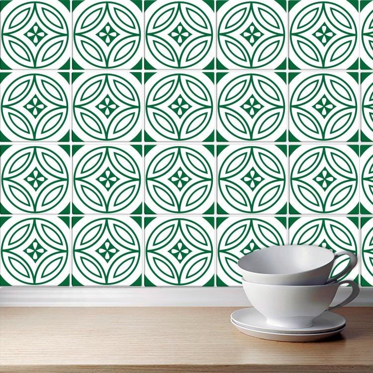 Αυτοκόλλητο πλακάκι τοίχου Πορτογαλικό μοτίβο πράσινο (8 Τεμάχια)