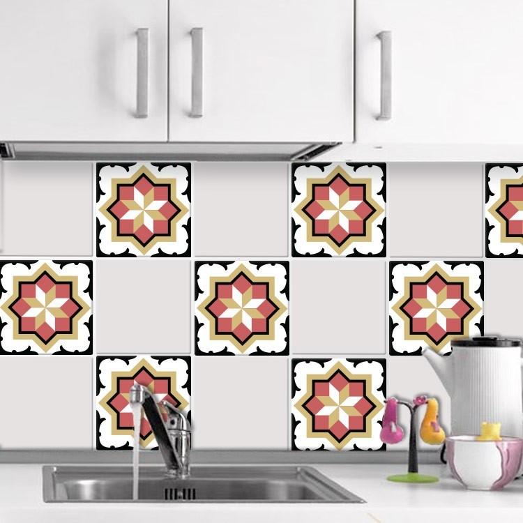 Αυτοκόλλητο πλακάκι τοίχου Κεραμικό μοτίβο κόκκινο κίτρινο μαύρο  (6 Τεμάχια)