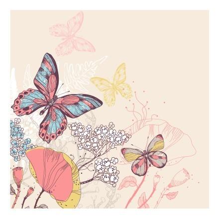 Πολύχρωμες πεταλούδες και λουλούδια