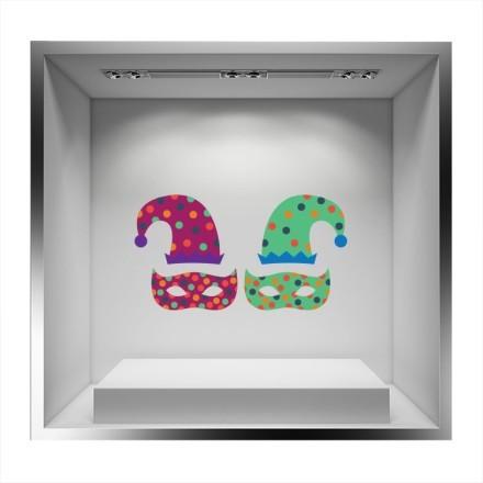 Δυο μάσκες χρωματιστές με καπέλο