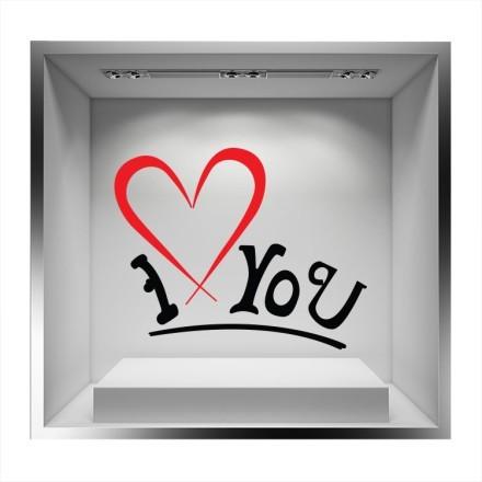 I Love you καρδιά κόκκινη καρδιά με μαύρα γράμματα