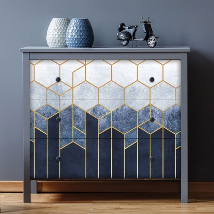 Blue art with gold