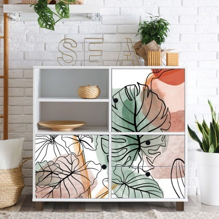 Σχέδιο με πράσινο φυτό και κύκλους