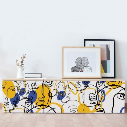 Abstract graphique with blue & yellow