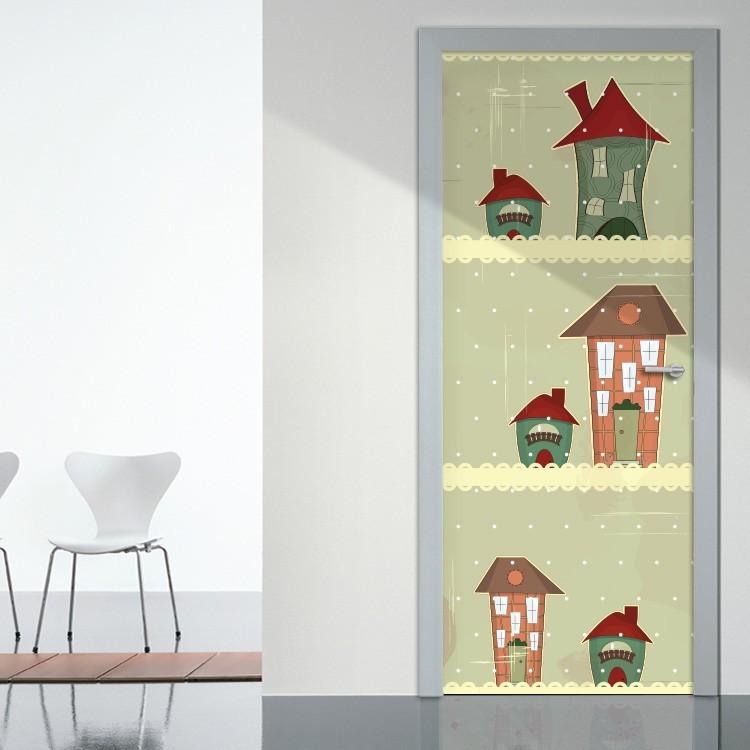 Αυτοκόλλητο Πόρτας Σπίτια