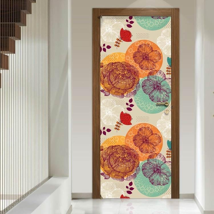 Αυτοκόλλητο Πόρτας Διάφορα λουλούδια