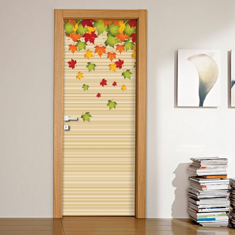 Αυτοκόλλητο Πόρτας Φθινοπωρινά φύλλα με φόντο