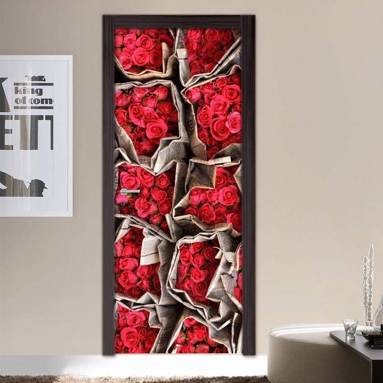Αυτοκόλλητο Πόρτας Κόκκινα τριαντάφυλλα