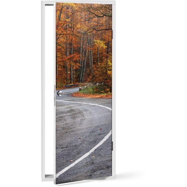 Αυτοκόλλητο Πόρτας Δρόμος στο δάσος