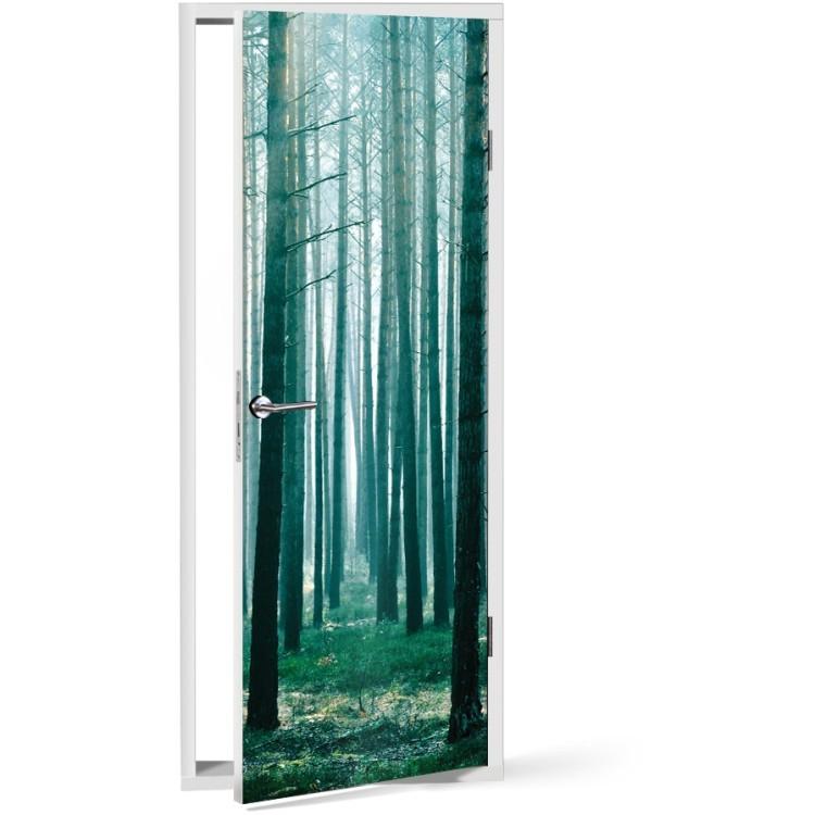 Αυτοκόλλητο Πόρτας Κορμοί Δέντρων