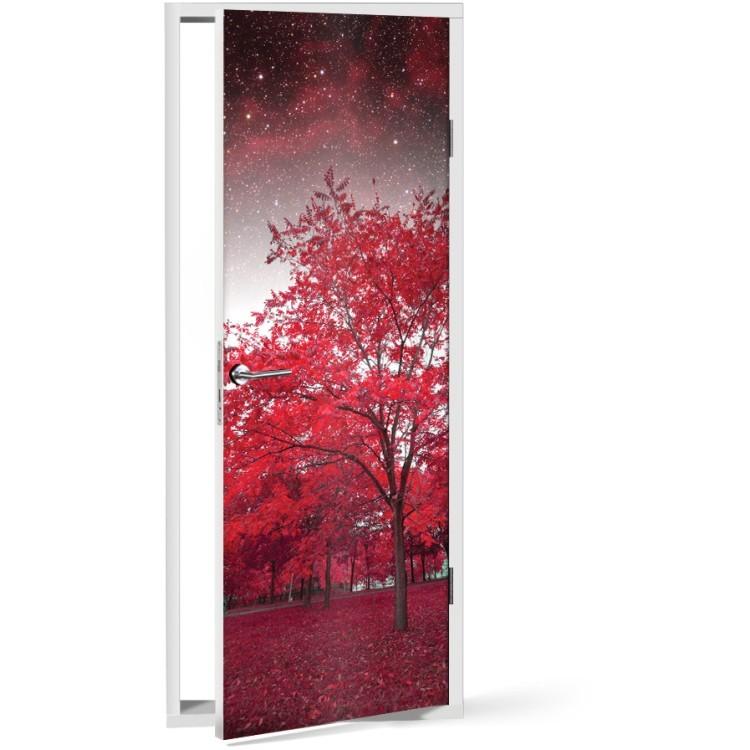 Αυτοκόλλητο Πόρτας Κόκκινο Δέντρο